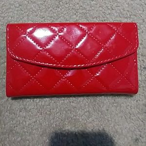 Handbags - Red Wallet/clutch with quilted diamond pattern
